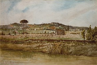 Balduina - Balduina's north-eastern ridge seen from Prati di Castello's side of the Tiber.  Painting by Ettore Roesler Franz (Roma, 1845-1907)