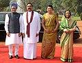 Pratibha Devisingh Patil and the Prime Minister, Dr Manmohan Singh with the President of Sri Lanka, Mr. Mahinda Rajapaksa and his wife Mrs. Shiranthi Rajapaksa, at the ceremonial reception, at Rashtrapati Bhavan.jpg