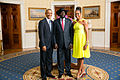 President Barack Obama and First Lady Michelle Obama greet His Excellency Salva Kiir Mayardit, President of the Republic of South Sudan.jpg