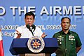 President Rodrigo Duterte clarifies a statement during his speech at the Villamor Air Base.jpg