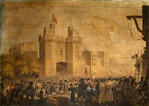 Lancaster Castle - The castle's 15th-century gatehouse, in a 19th-century depiction by an unknown artist, with new inmates arriving at the castle when it was used as a prison.