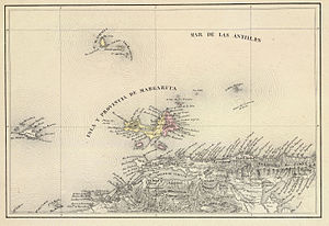 Margarita Province - 1840 map by Agostino Codazzi.