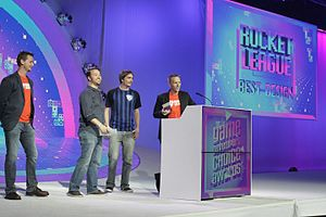 Rocket League - Members from Psyonix, including the studio founder Dave Hagewood (right), receiving the 2016 Game Developers Choice Award for Rocket League at GDC 2016