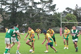 Wairangi Koopu - Koopu (second from left) playing for Pt Chev in 2010