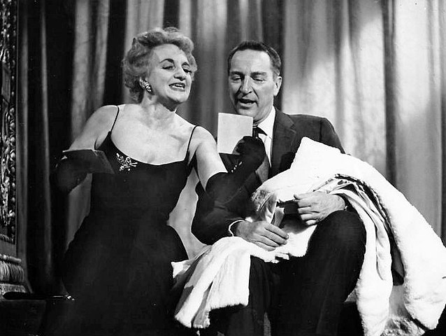 Publicity photo of actress Hermione Gingold and host Garry Moore from the television game show I've Got a Secret.jpg