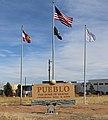 Pueblo, the home of heroes (sign).JPG