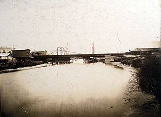 Pueyrredón Bridge - First Pueyrredón bridge, inaugurated in 1871 and destroyed by the swelling of the river in 1884.