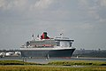 QM2 approaching Calshot Spit Nature Reserve on Southampton Water.jpg