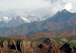 The Qilian Mountains seen from Qilian County