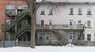 Saint-Roch, Quebec City - Typical residential backyard architecture.