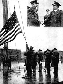The US flag comes down for the last time at RAF Honington in February 1946