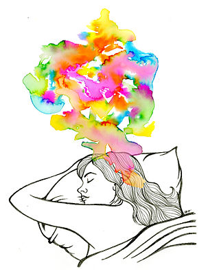 Sleep - An artist's creative illustration depicting REM sleep.