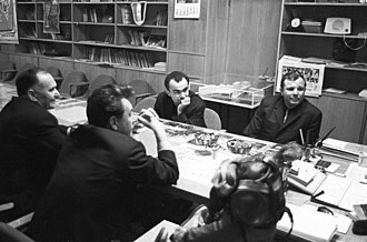 Molodaya Gvardiya (publisher) - Yuri Gagarin at the Molodaya Gvardiya publishing house on the day he signed for the printing of his book Psychology and Space. Photo by RIA Novosti, 1968.