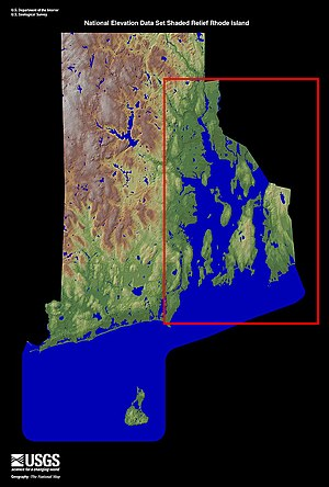 Narragansett Bay - Narragansett Bay, boxed in red, in relation to Rhode Island