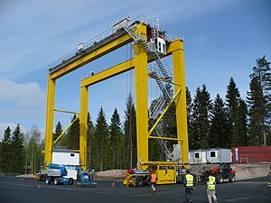 Konecranes - RTG aka Rubber tyred gantry crane by Konecranes in Finnish factory