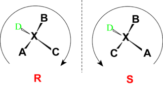 "Descriptor (Chemistry) - Configuration assignment of the stereo center ""X"", the substituents are decreasingly prioritized from ""A"" → ""D"" according to the CIP rules."