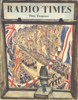 Cover of the 7 May 1937 edition of Radio Times, drawn by Christopher R. W. Nevinson, marking the first coronation to be broadcast, and partially televised, live Radio Times - 1937-05-07 - front cover - Christopher Richard Wynne Nevinson.png