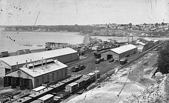 The Strand Station - Railway yards at Mechanics Bay, 1880s; the bay would be reclaimed for Auckland Railway Station and yards over the next 40 years