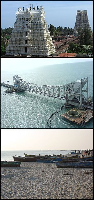 Rameswaram - From top: Ramanathaswamy Temple tower, Pamban Bridge, and a set of fishing boats.