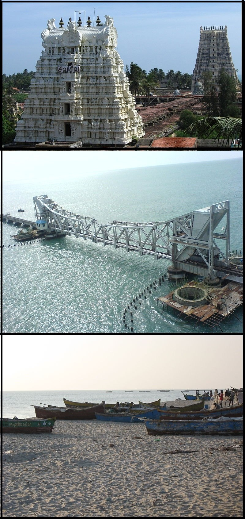 From top: Ramanathaswamy Temple tower, Pamban Bridge, and a set of fishing boats.