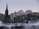 Ramsay Gardens seen from Princes Street in the snow.JPG