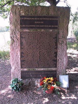 Ramstein air show disaster - The airshow disaster memorial with the names of the victims
