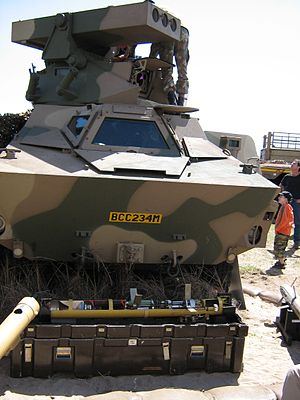 Ratel IFV - Ratel ZT3-A2 with cut-away Ingwe anti-tank guided missile in front