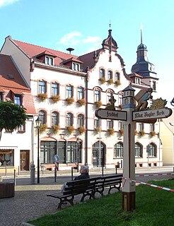 Lunzenau Place in Saxony, Germany