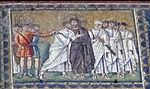 Ravenna, sant'apollinare nuovo, int., storie cristologiche, epoca di teodorico 08.2 bacio di giuda.jpg
