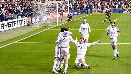 0283372e5 Real Madrid players celebrating a goal against Bayern Munich in 2007