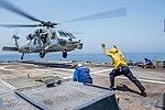 Rear Adm. Bill Byrne departs USS Princeton (CG 59) on an MH-60S Sea Hawk helicopter (36399192056).jpg
