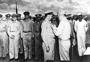 Willis Augustus Lee - Bull Halsey presents Lee with the Navy Cross for his actions during the Naval Battle of Guadalcanal, circa January 1943