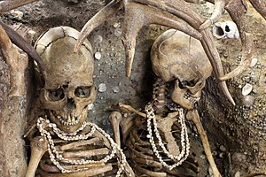 Téviec - Close-up of the skeletons, showing their shell necklaces