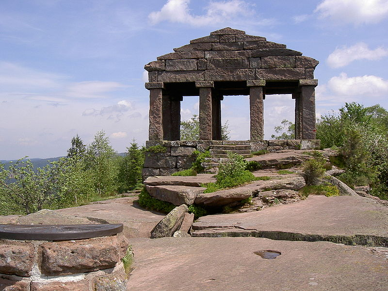 File:Reconstructed Roman temple on top of mount Grand Donon, Vosges mountains, Bas-Rhin.jpg
