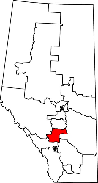 Red Deer—Mountain View - Red Deer—Mountain View in relation to other Alberta federal electoral districts as of the 2013 Representation Order.