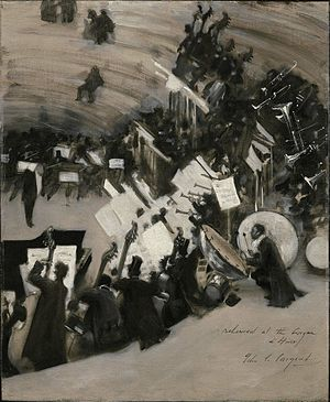 Pasdeloup Orchestra - Rehearsal of the Pasdeloup Orchestra at the Cirque d'Hiver by John Singer Sargent, Museum of Fine Arts, Boston.