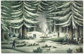 Coppermine Expedition of 1819–22 - Constructing a camp during the first winter of the expedition.