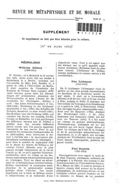 File:Revue de métaphysique et de morale, supplément 2, 1912.djvu