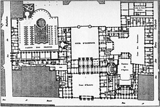Théâtre du Palais-Royal (rue Saint-Honoré) - 1780 plan of the Palais-Royal with Moreau's opera house in the lower right quadrant