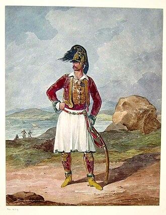 1st Regiment Greek Light Infantry - Richard Church as a major in the regimental uniform, 1813
