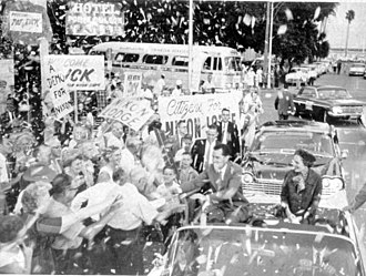 Campaign parade for Richard Nixon in St. Petersburg, October 18, 1960 Richard and Pat Nixon during a campaign parade- St. Petersburg, Florida (8008877547).jpg