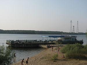 River embarcadero in Konakovo, Tver region, Russia. Volga river.jpg