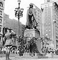 Robert M. Lyon salutes a statue of Alexander Macomb in Michigan, 1935.jpg