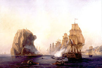 Julien Cosmao - The French fleet under Captain Cosmao attacking Diamond Rock. Painting by Auguste Mayer.