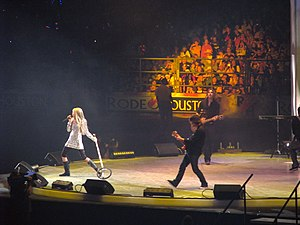 "Best of Both Worlds Tour - Cyrus opening the show as Hannah Montana with ""Rock Star"" during the Houston Livestock Show and Rodeo concert on March 9, 2008."