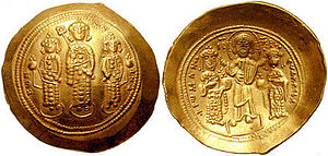 Eudokia Makrembolitissa - Gold histamenon of Romanos IV: Michael VII Doukas flanked by his brothers Andronikos and Konstantios on the obverse, Eudokia and Romanos IV crowned by Christ on the reverse