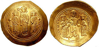 Byzantine Empire under the Doukas dynasty - Gold histamenon of Romanos IV: Michael VII Doukas flanked by his brothers Andronikos and Konstantios on the obverse, Romanos IV and Eudokia Makrembolitissa crowned by Christ on the reverse