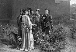 Rappresentazione di una scena dell'Enrico VI, parte I, dove i partigiani delle fazioni rivali, nella chiesa del Tempio, scelgono tra le rose rosse e le rose bianche
