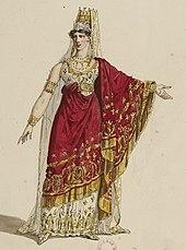 Joséphine Fodor in Rossinis Semiramide, Paris 1825; Kostümentwurf von Hippolyte Lecomte (Quelle: Wikimedia)