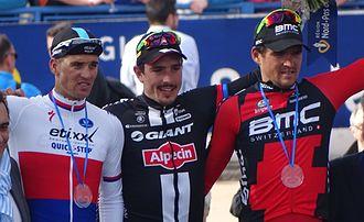 John Degenkolb - Degenkolb (centre) on the podium after winning the 2015 Paris–Roubaix